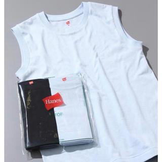アダムエロぺ(Adam et Rope')のADAM ET ROPE' 別注Hanes スリーブレスTシャツ 黒×白(Tシャツ/カットソー(半袖/袖なし))
