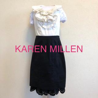 Karen Millen - KAREN MILLEN カレンミレン【日本未発売】ノースリーブフリルワンピース