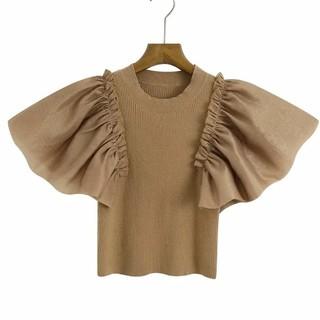 レディース ニット Tシャツ リブ 新品 未着用 半袖 フリル C