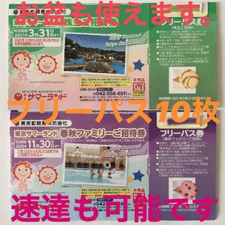 東京サマーランド  フリーパス 10枚 株主優待券(プール)