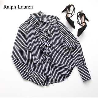 ラルフローレン(Ralph Lauren)のラルフローレン★ラッフルフリル ストライプ 長袖シャツ 黒系 7(S~M)(シャツ/ブラウス(長袖/七分))