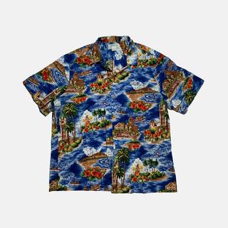 【kolekole】ハイビスカス フラダンスガール 総柄 アロハシャツ XL