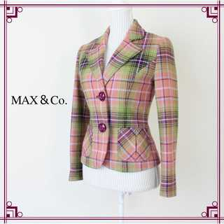 マックスアンドコー(Max & Co.)の美品 マックス&コー★チェック柄 テーラードジャケット 40(L) 大人ピンク♪(テーラードジャケット)