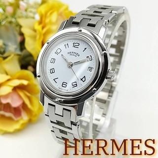 エルメス(Hermes)の美品 エルメス クリッパー デイト シルバーカラー レディース時計(腕時計)