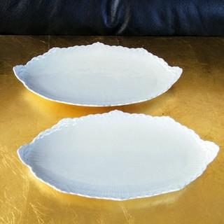 ロイヤルコペンハーゲン(ROYAL COPENHAGEN)のロイヤルコペンハーゲン ホワイトハーフレース ピックルディッシュ ペア used(食器)