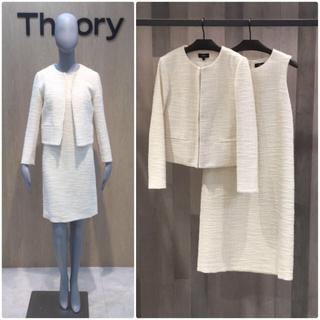 theory -  theory 19SS ホワイトツイードスーツ ワンピース 白
