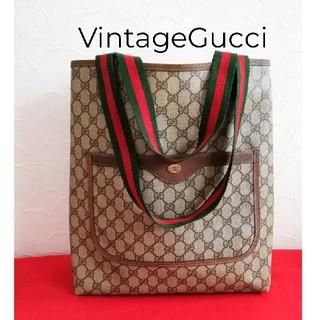 Gucci - 良品 オールドグッチ シェリーライン ビンテージトートバッグ ハンドバッグ