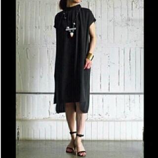 ENFOLD - ENFOLD ダブルサテン ギャザー ドレス 36 ブラック