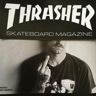 スラッシャー(THRASHER)のTHRASHERスラッシャー US限定 BIGボックス ロゴバナー ステッカー(スケートボード)