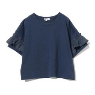 ビームス(BEAMS)の最終値下げ‼️ beams  女児 袖フリルTシャツ ネイビー 値札付き新品(Tシャツ/カットソー)