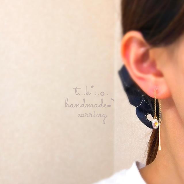 雫スワロフスキー&ゴールドスティック ノンホールピアス  イヤリング  ハンドメイドのアクセサリー(イヤリング)の商品写真