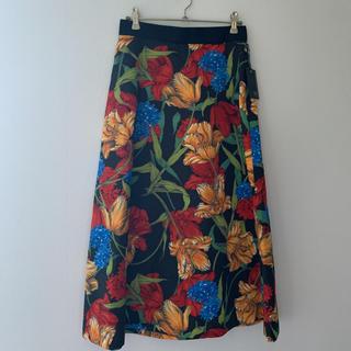 SCOT CLUB - スコットクラブ*黒 花柄 ロングスカート
