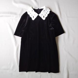 フォクシー(FOXEY)のフォクシー FOXEY ベロアトップス つけ襟 ブラック38(カットソー(半袖/袖なし))
