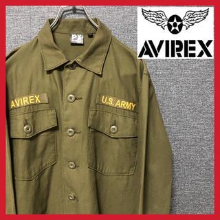アヴィレックス(AVIREX)のAVIREX ミリタリーシャツ アーミー 長袖 メンズ カーキ 緑(ミリタリージャケット)