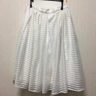 マーキュリーデュオ(MERCURYDUO)の白 ボーダー フレアスカート   夏 MERCURYDUO(ひざ丈スカート)