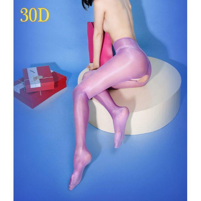 【新入荷】30Dカラータイツ ストッキング オープンクロッチ (紫色) レディースのレッグウェア(タイツ/ストッキング)の商品写真