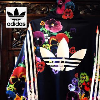 adidas - アディダス 花柄 パンジー ジャージ ジャケットトレーナー ブルゾン ML