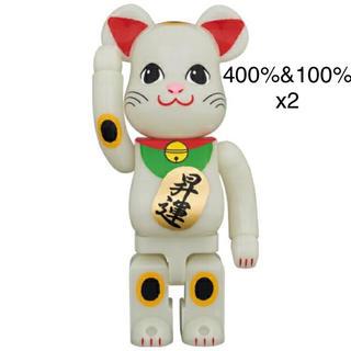 MEDICOM TOY - BE@RBRICK 招き猫 昇運 蓄光 400% 100% x2