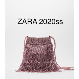ザラ(ZARA)の新品 ZARA フリンジビーズバッグ ピンク(ショルダーバッグ)
