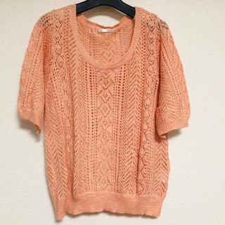 レトロガール(RETRO GIRL)の透かし編み半袖ニット(カットソー(半袖/袖なし))