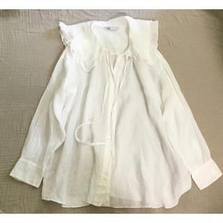 ZARA - ザラ フリルブラウス ホワイト 大襟 セーラー襟