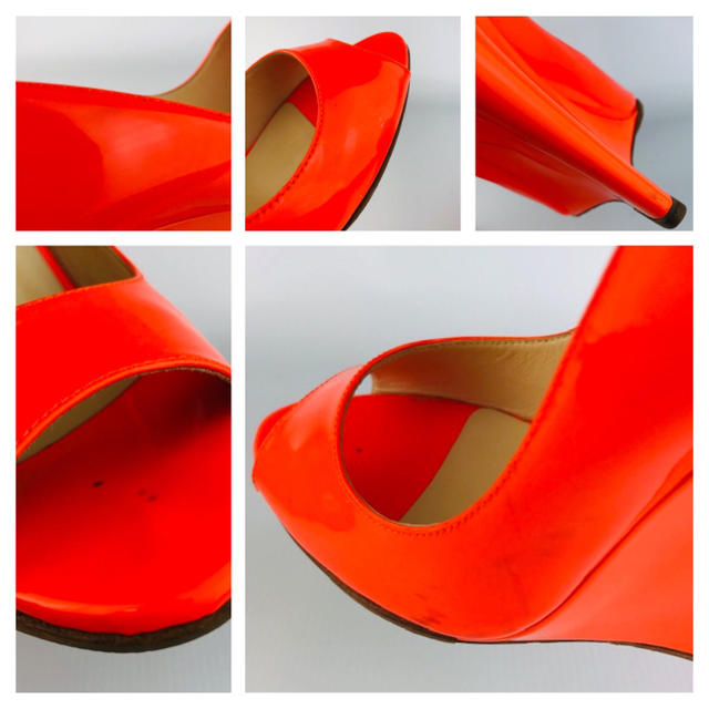 JIMMY CHOO(ジミーチュウ)のJIMMY CHOO★パテントレザーオレンジ ウェッジソールパンプス(36) レディースの靴/シューズ(ハイヒール/パンプス)の商品写真