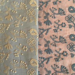ミナペルホネン(mina perhonen)のミナペルホネン field of flower ブルー ピンク 2枚 チェック(生地/糸)