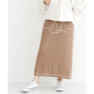 merlot - merlot 配色ステッチワッフルスカート ベージュ