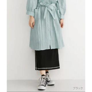 merlot - merlot 配色ステッチワッフルスカート  ブラック