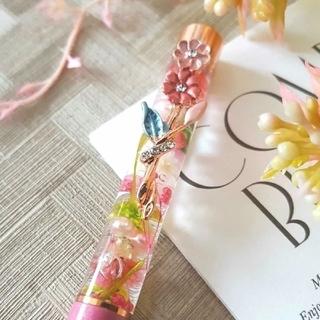 ハーバリウムボールペン 花柄ピンク系 花クリップ付き(その他)