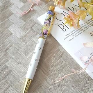 ハーバリウムボールペン 花柄ホワイト系 花クリップ付き(その他)