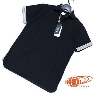 ビームス(BEAMS)の新品 L ビームス「COOLMAX」切り替えストライプ 鹿の子 半袖ポロシャツ(ポロシャツ)