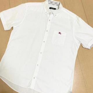 BURBERRY BLACK LABEL - ブランドマーク入✨白シャツ🎶バーバリーチェック💫半袖