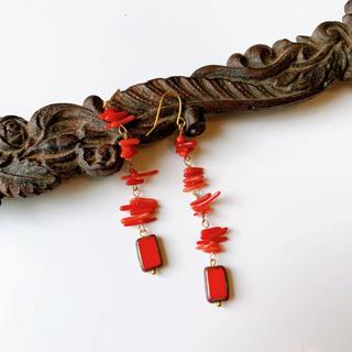 赤サンゴ チェコビーズ ロングピアス(ピアス)