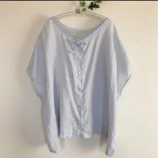 ネストローブ(nest Robe)のnest Robe ネストローブ リネンレース付きブラウス ライトブルー(シャツ/ブラウス(半袖/袖なし))