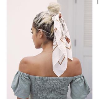 アリシアスタン(ALEXIA STAM)のアリシアスタン Scarf Hair Scrunchie Off White(バンダナ/スカーフ)