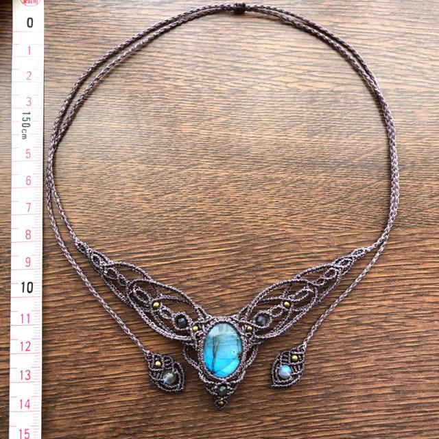 267*ラブラドライトのマクラメネックレス ハンドメイドのアクセサリー(ネックレス)の商品写真
