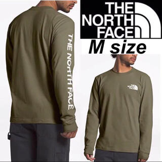 ザノースフェイス(THE NORTH FACE)のノースフェイス 袖ロゴ ロンT 長袖 Tシャツ オリーヴ ロングスリーブ M(Tシャツ/カットソー(七分/長袖))