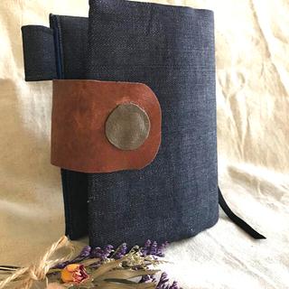 ♡たっぷりデニム&レザーベルト 聖書カバー 小型 ハンドメイド(ブックカバー)