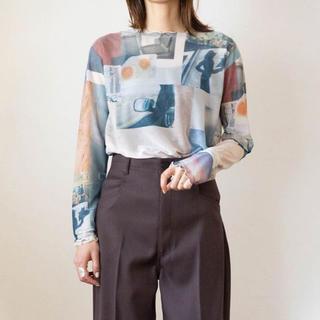 フィーニー(PHEENY)のpheeny プリントフリルクルーネック(Tシャツ/カットソー(半袖/袖なし))