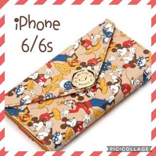 ミッキーマウス(ミッキーマウス)のチェーン付 レタークラッチ ミッキー&ミニー スマホケース iPhoneケース(iPhoneケース)