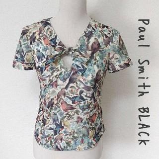 ポールスミス(Paul Smith)の【Paul Smith BLACK】鳥 総柄 半袖ブラウス サイズ40(シャツ/ブラウス(半袖/袖なし))
