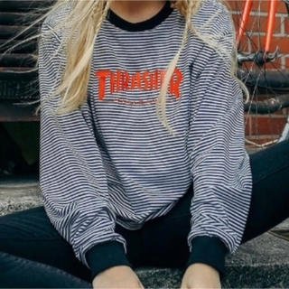 THRASHER - THRASHER × jouetie ボーダーロンT ラメ カットソー