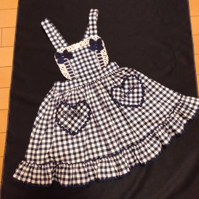 Shirley Temple(シャーリーテンプル)の新品シャーリーテンプル ギンガムチェック紺110 キッズ/ベビー/マタニティのキッズ服女の子用(90cm~)(ワンピース)の商品写真