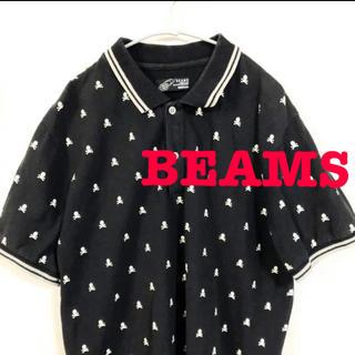 ビームス(BEAMS)のビームス BEAMS 半袖 ポロシャツ スカル ドット柄 黒 Mサイズ(ポロシャツ)