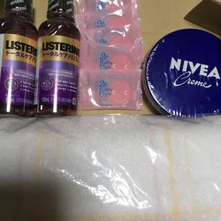 ニベア - ニベア大缶169g、リステリントータルケア二本、ベビーソープ、フェイスタオル