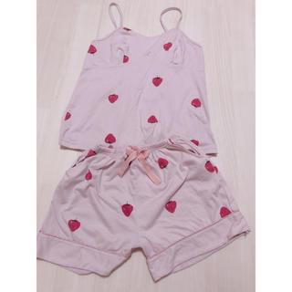 ジェラートピケ(gelato pique)のいちご柄 パジャマ上下セット ピンク(ルームウェア)