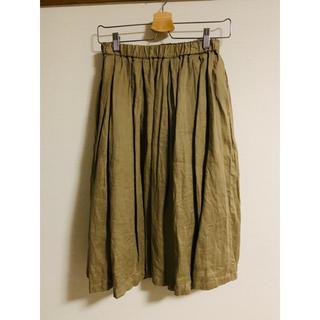ムジルシリョウヒン(MUJI (無印良品))の美品!無印良品リネン麻ギャザースカートカーキMサイズ(ひざ丈スカート)