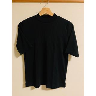 ムジルシリョウヒン(MUJI (無印良品))の無印良品 MUJI コットン混 リブ 半袖 ボトルネックカットソー黒M (カットソー(半袖/袖なし))