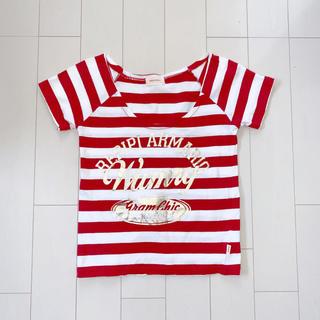 レピピアルマリオ(repipi armario)の〈新品〉repipi armario ボーダーロゴTシャツ S 赤白(Tシャツ(半袖/袖なし))